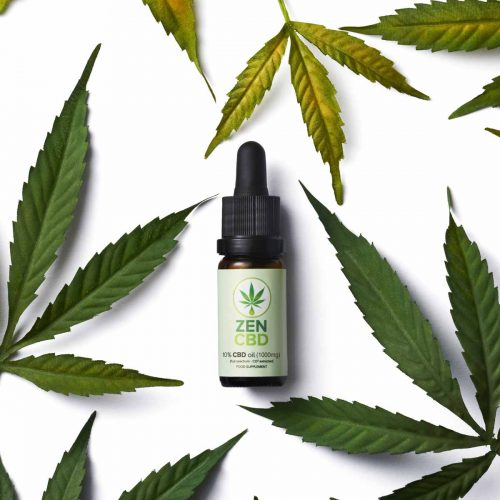 cbd cannabis oil with cannabis leaves